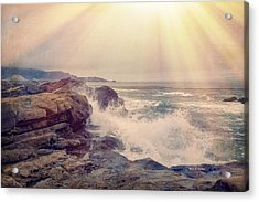 A Mysterious Morning - Point Lobos Acrylic Print by Angela A Stanton