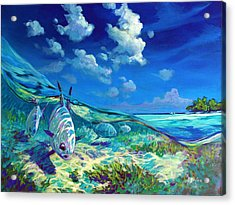 A Place I'd Rather Be - Caribbean Permit Fly Fishing Painting Acrylic Print by Savlen Art