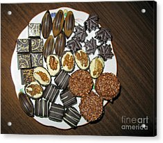 A Plate Of Chocolate Sweets Acrylic Print by Ausra Huntington nee Paulauskaite