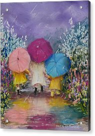 A Rainy Day Stroll With Mom Acrylic Print by Jack Skinner