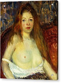 A Red-haired Model Acrylic Print by William James Glackens