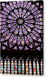 A Rose Window In Notre Dame Cathedral Acrylic Print by William Sutton