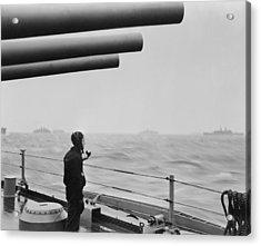 A Sailor On A Warship Keeps Alert Watch Acrylic Print by Everett