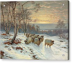 A Shepherd With His Flock In A Winter Landscape Acrylic Print by Wright Barker