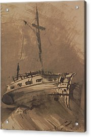 A Ship In Choppy Seas Acrylic Print by Victor Hugo