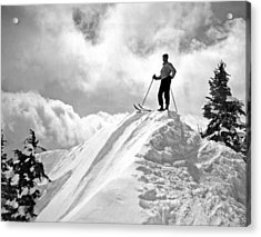 A Skier On Top Of Mount Hood Acrylic Print by Underwood Archives