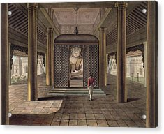 A Soldier Standing In A Rangoon Temple Acrylic Print by Joseph Moore