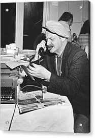 A Sports Reporter At Work Acrylic Print by Underwood Archives