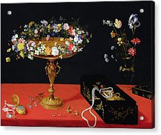 A Still Life Of A Tazza With Flowers  Acrylic Print by Jan the Younger Brueghel