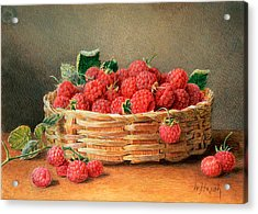 A Still Life Of Raspberries In A Wicker Basket  Acrylic Print by William B Hough