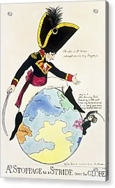 A Stoppage To A Stride Over The Globe, 1803 Litho Acrylic Print by English School
