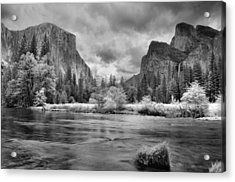 A Storm Draws Near - Black And White Acrylic Print by Lynn Bauer
