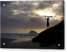 A Surfer On Muriwai Beach New Zealand Acrylic Print by Deddeda