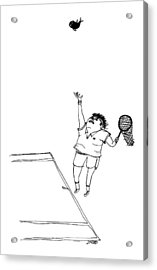 A Tennis Player Holds A Fishing Net Instead Acrylic Print by Edward Steed