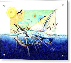 A Tern With The Dolphins Acrylic Print by David  Chapple
