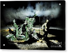 A United States Gun Crew Fire Illumination Rounds At Forward Operating Base Hadrian Acrylic Print by Paul Fearn