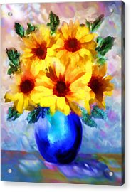 A Vase Of Sunflowers Acrylic Print by Valerie Anne Kelly