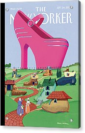 A Village Of Old Shoe And Boot Homes Is Dwarfed Acrylic Print by Bruce McCall