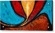 A Visit With Ama - Vibrant Abstract Flower Art By Sharon Cummings Acrylic Print by Sharon Cummings