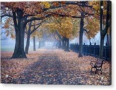A Walk In Salem Fog Acrylic Print by Jeff Folger