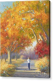 A Walk In The Fall Acrylic Print by Lucie Bilodeau