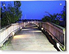 A Walk On The Pier Acrylic Print by Judy Palkimas