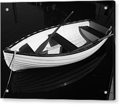 A White Rowboat Acrylic Print by Xueling Zou