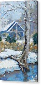 A Winter Walk In The Park Acrylic Print by Sandra Harris