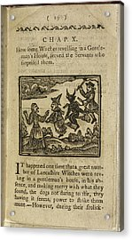 A Witch And Demon Flying On Broomsticks Acrylic Print by British Library