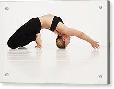 A Woman In A Yoga Pose Tarifa, Cadiz Acrylic Print by Marcos Welsh