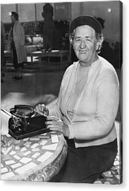 A Woman Journalist Typing Acrylic Print by Underwood Archives