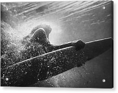 A Woman On A Surfboard Under The Water Acrylic Print by Ben Welsh