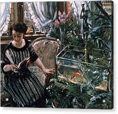 A Woman Reading Near A Goldfish Tank Acrylic Print by Lovis Corinth
