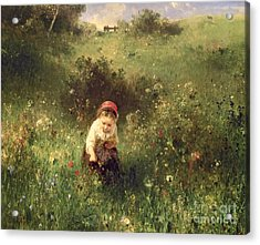 A Young Girl In A Field Acrylic Print by Ludwig Knaus