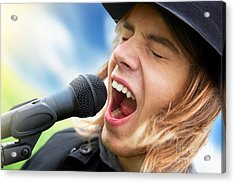 A Young Man Sings To A Microphone Acrylic Print by Michal Bednarek