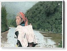 A Young Vietnamese Mother With Her Baby Acrylic Print by Wilfrid Barbier