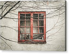 Abandoned House Detail With Old Wooden Window II Acrylic Print by Aldona Pivoriene