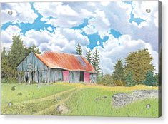 Abandoned Old Barn Acrylic Print by Wilfrid Barbier