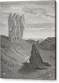 Abraham And The Three Angels Acrylic Print by Gustave Dore