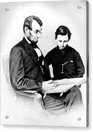 Abraham Lincoln And Tad Acrylic Print by Anonymous