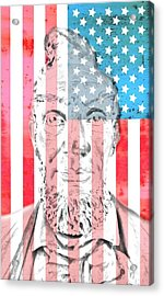 Abraham Lincoln Vintage American Flag Acrylic Print by Dan Sproul