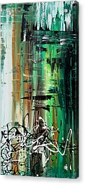 Abstract Art Colorful Original Painting Green Valley By Madart Acrylic Print by Megan Duncanson