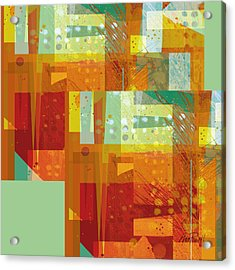 abstract - art- Intersect Orange   Acrylic Print by Ann Powell