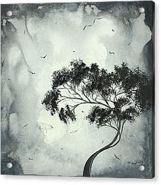 Abstract Art Original Black And White Surreal Landscape Painting Lost Moon By Madart Acrylic Print by Megan Duncanson