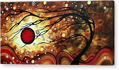 Abstract Art Original Circle Painting Flaming Desire By Madart Acrylic Print by Megan Duncanson