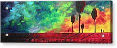 Abstract Art Original Colorful Landscape Painting Burning Skies By Madart  Acrylic Print by Megan Duncanson