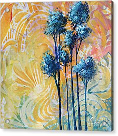 Abstract Art Original Landscape Painting Contemporary Design Blue Trees II By Madart Acrylic Print by Megan Duncanson
