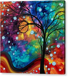 Abstract Art Original Painting Winter Cold By Madart Acrylic Print by Megan Duncanson