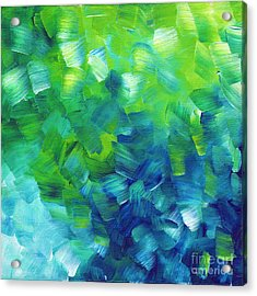 Abstract Art Original Textured Soothing Painting Sea Of Whimsy I By Madart Acrylic Print by Megan Duncanson