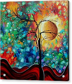 Abstract Art Original Whimsical Modern Landscape Painting Bursting Forth By Madart Acrylic Print by Megan Duncanson
